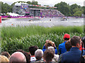 TQ2780 : Olympics triathlon Hyde Park - swimmers return past the grandstand by David Hawgood