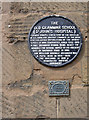 Photo of William Dugdale and The Old Grammar School (St John's Hospital) black plaque