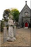 R3377 : Ennis - Francis Street - Franciscan Friary - Friar Figure, Garden, Chapel Entrance by Joseph Mischyshyn