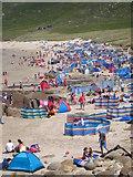 SW3526 : A sunny August day on Sennen beach by Rod Allday