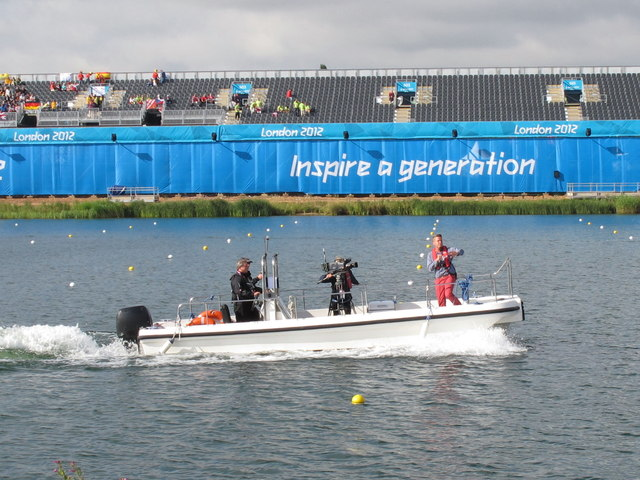 TV camera and commentator boat, Eton Dorney Olympics course