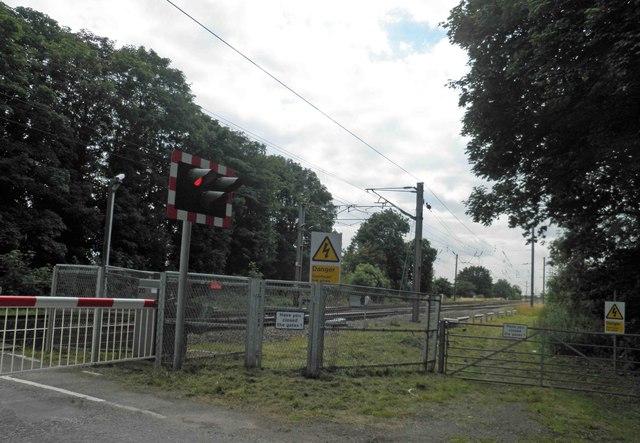 Railway crossing on the East Coast Main Line Carlton on Trent