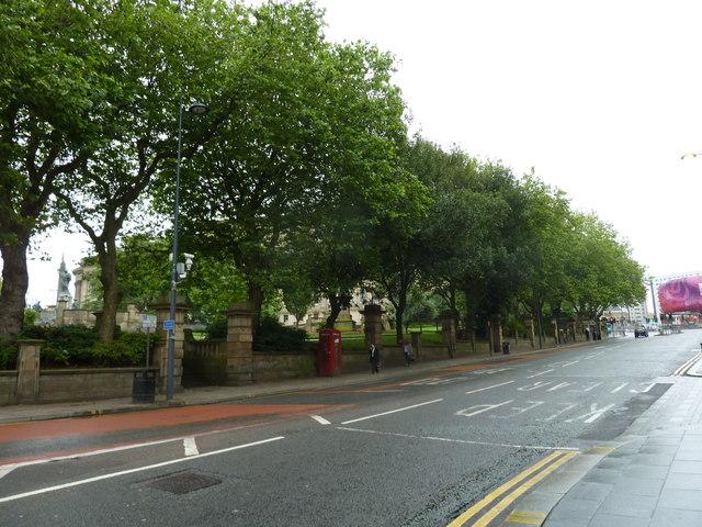 Looking across St John's Lane towards a telephone box