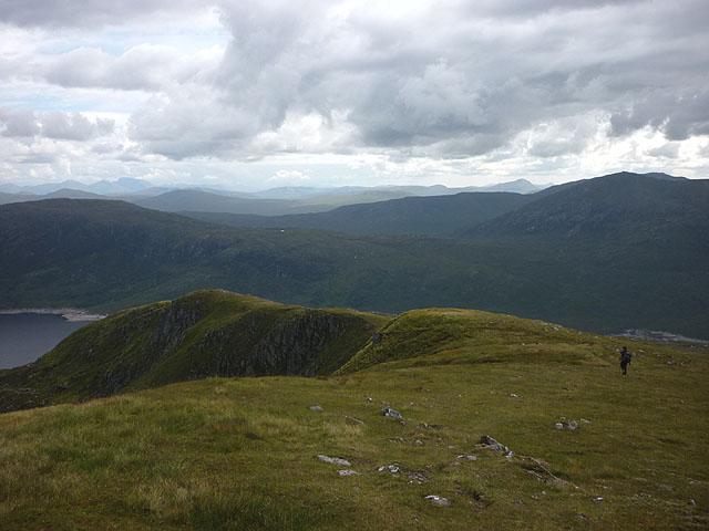 Descending the ridge west of Coire Lair