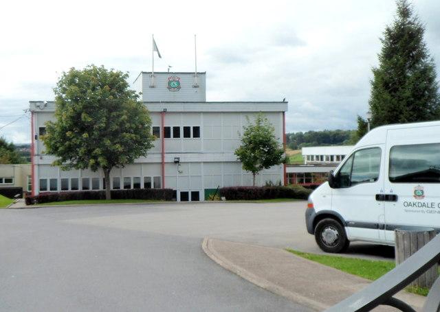A school building and a school van, Oakdale Comprehensive School