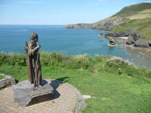 Saint Carannog overlooking Llangrannog