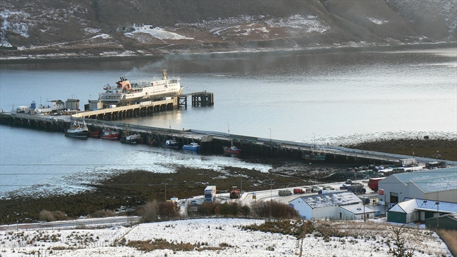 Ferry at Uig Pier in winter