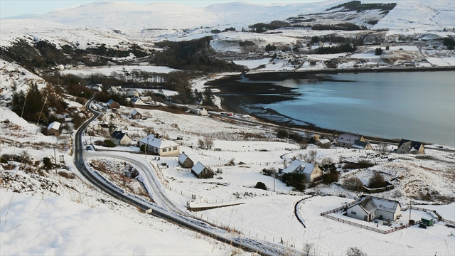 The A855 at Uig in winter