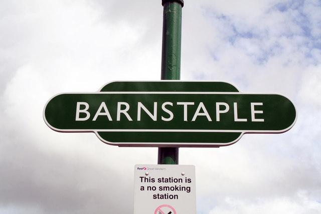'Totem' sign at Barnstaple station