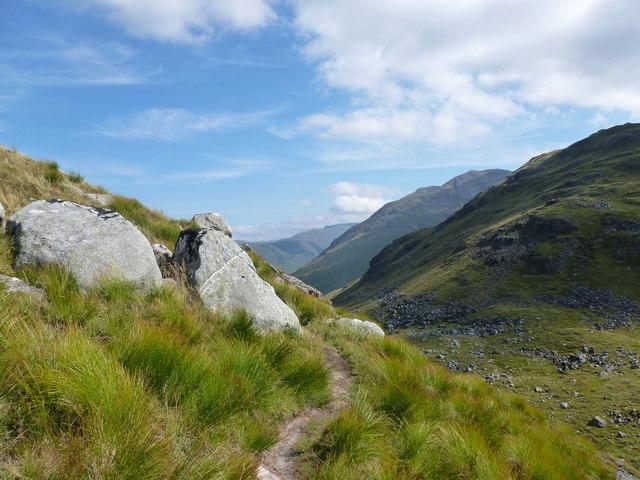 Path towards the bealach on west ridge of Meall Garbh