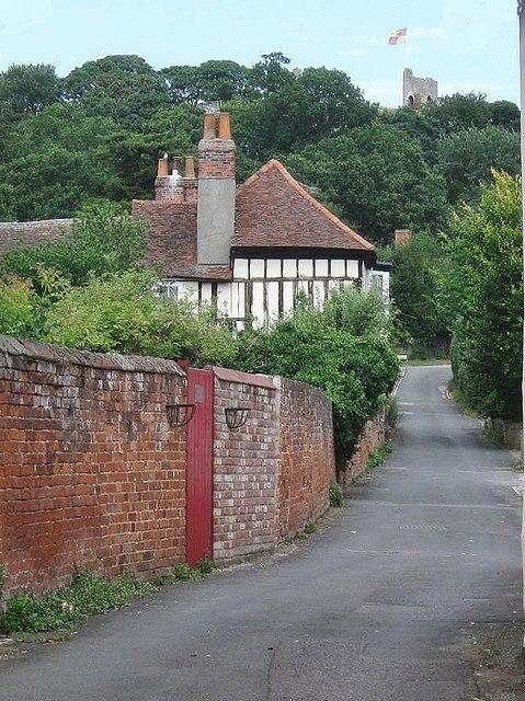 Looking up Castle Lane , Castle Hedingham, Essex