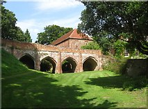 TL7835 : Norman bridge, Hedingham Castle, Essex by Derek Voller