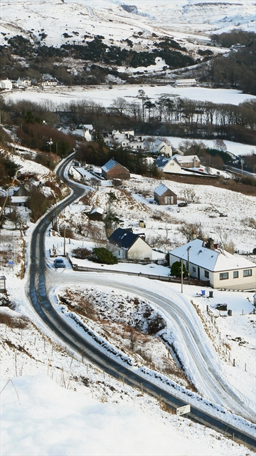The A855 from Idrigill in winter