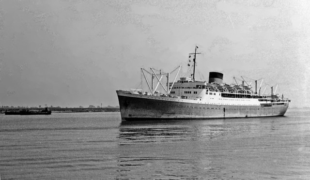 Union Castle's 'Bloemfontein Castle' returning to London on its maiden voyage from Capetown via Suez