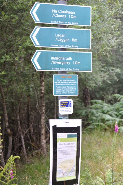 Directional Sign on Loch Garry