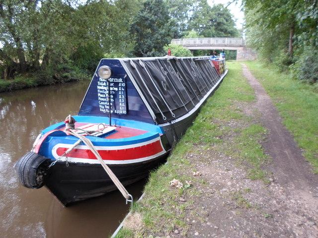 Working Narrow Boat Hadar moored at Bridge No.55, near King's Bromley