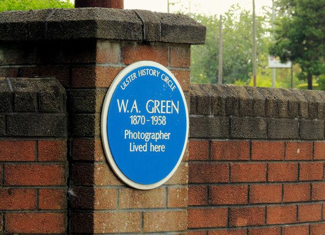 WA Green (photographer) plaque, Antrim