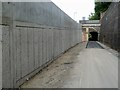 NT4936 : A new retaining wall by the former Waverley Railway Line in Galashiels by Walter Baxter