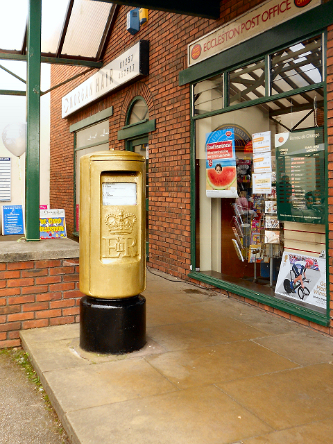 Gold Post Box, Eccleston Post Office