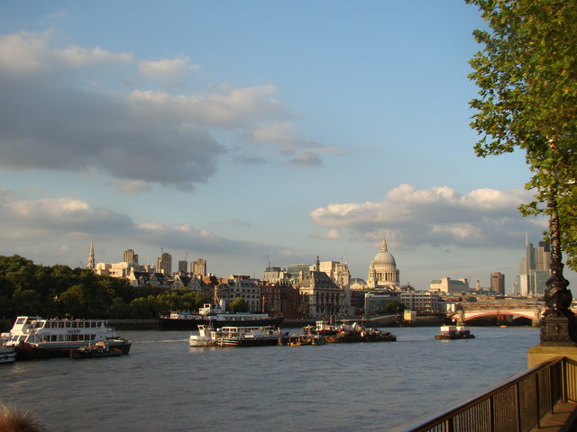 View of the Barbican Towers and St Paul's Cathedral from the South Bank
