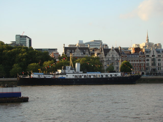 View of HMS President from the South Bank