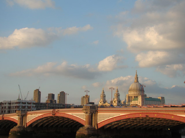 View of the Barbican Towers and St Paul's Cathedral from the South Bank #2
