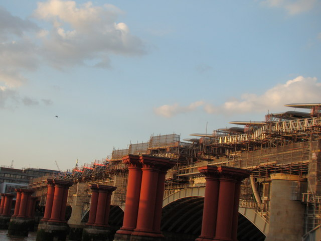 View of the Blackfriars railway bridge from the South Bank