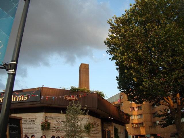 View of the Tate Modern chimney from the South Bank