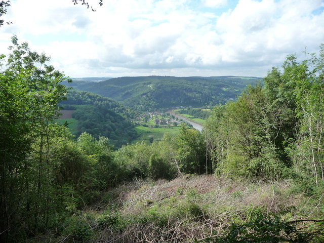 View from Offa's Dyke Path down to Tintern Abbey ruins