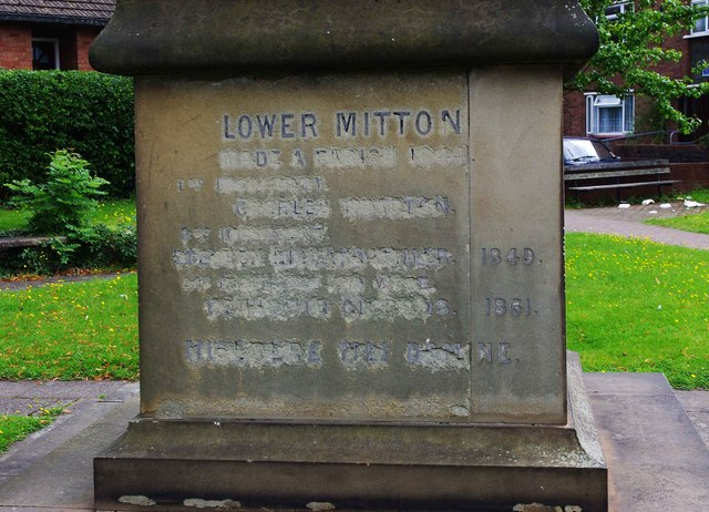 Inscription on base of cross, corner of Church Drive and Minster Road, Stourport-on-Severn