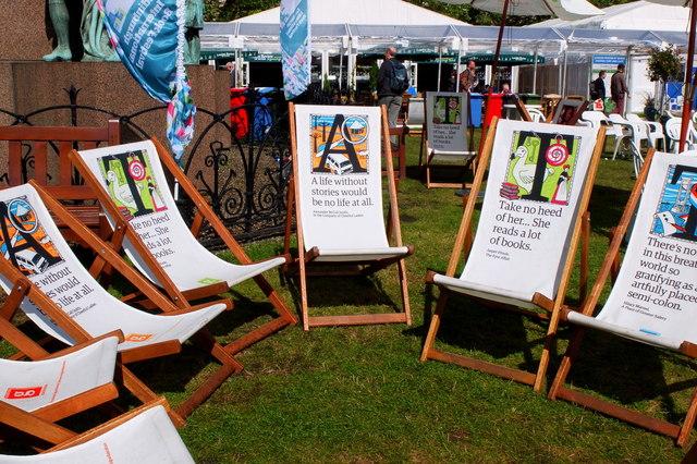 Readers' deckchairs, Edinburgh Book Festival