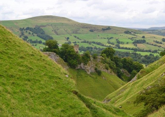 View down Cave Dale to Peveril Castle, Castleton