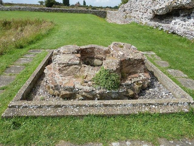 Richborough Castle Roman Fort - remains of font