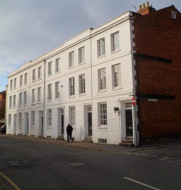 Row of 3-storey houses, St Ethelbert Street, Hereford