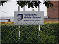 TM3978 : Halesworth Middle School sign by Adrian Cable