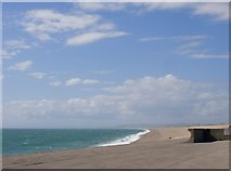 SY6873 : View north-west along Chesil Beach, from the Cove House Inn, Chiswell by Stefan Czapski