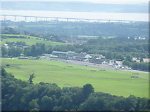 ST5295 : Chepstow Racecourse grandstands from the Eagle's Nest on the Wynd Cliff by Jeremy Bolwell