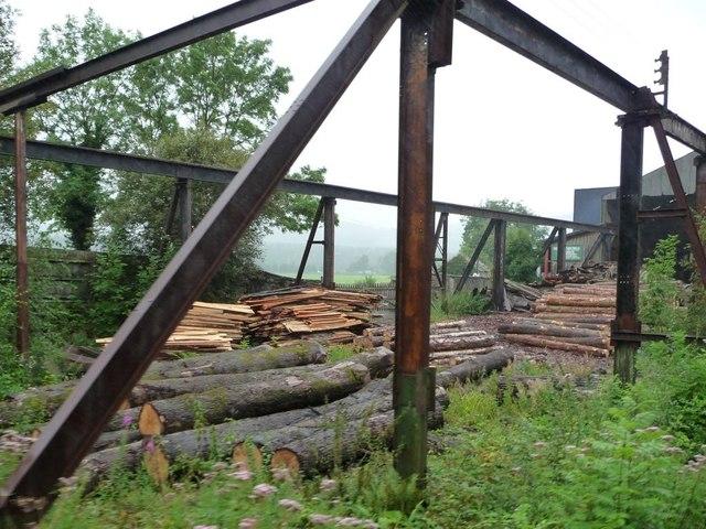 Stored logs at Victoria sawmills
