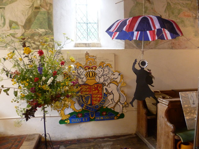 Olympic theme for the flower festival at the church of St Cosmas and St Damian, Challock
