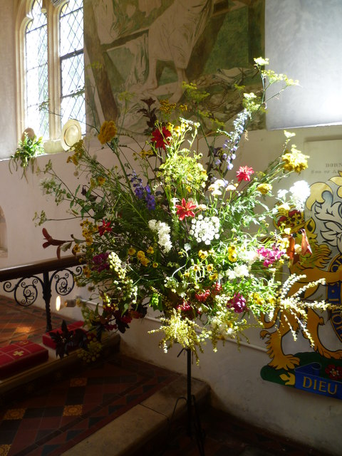 Display at the flower festival in the church of St Cosmas and St Damian, Challock