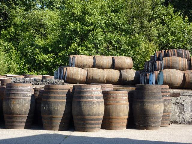 Barrels at the Fort William distillery