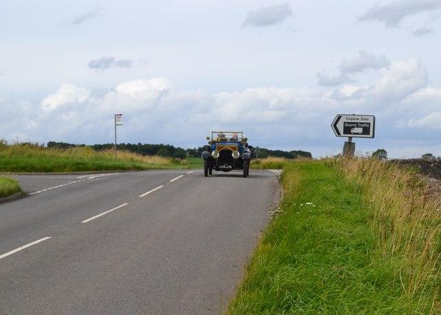 Veteran car heading south on the B6049