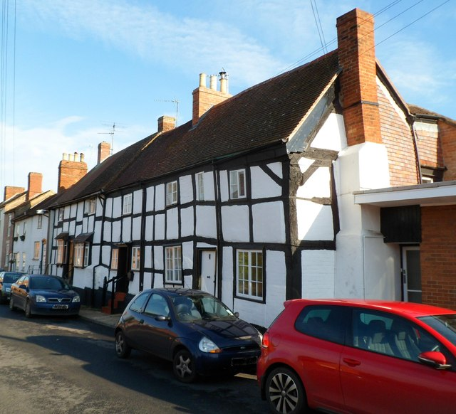 Row of 5 black and white timber-framed houses, Newent