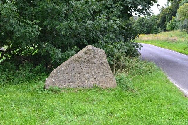 Entering Great Hucklow - stone village sign
