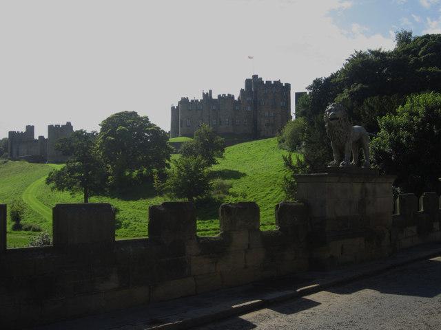 Alnwick Castle seen from the Lion Bridge