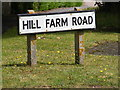 TM3977 : Hill Farm Road sign by Geographer