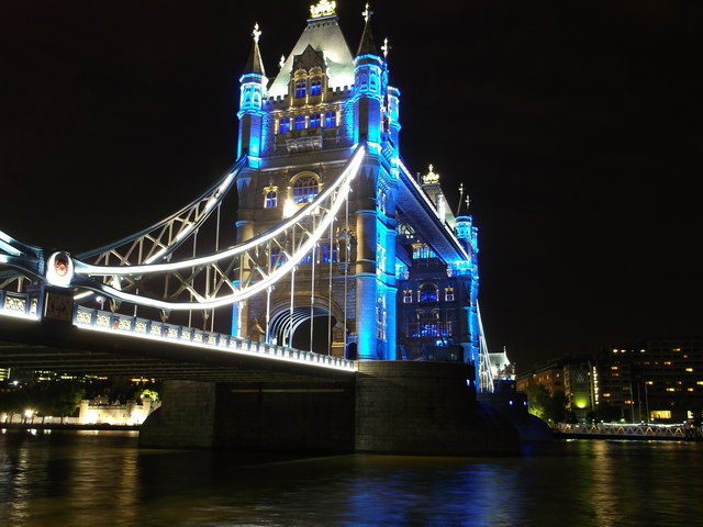Tower Bridge And Blue Lights London 169 David Anstiss