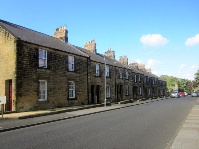 Terraced houses on Waggonway Road, Alnwick