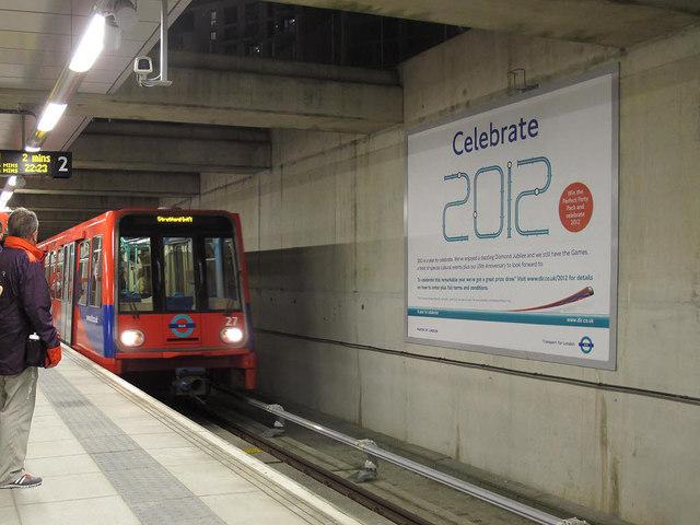 DLR train arriving at Stratford International