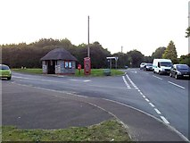 TM4493 : Thatched bus shelter and red telephone box in Aldeby by Helen Steed